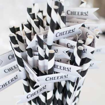 Black and White detail of straws for a Neverending Story Wedding, Boston Event Planner, Boston Event Planning, Boston Event Stylist, Boston Event Styling
