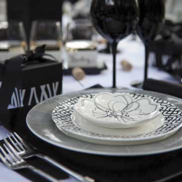Black and White detail of place setting for an outdoor wine tasting event, Boston Event Planner, Boston Event Planning, Boston Event Stylist, Boston Event Styling