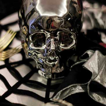 Black and White detail of silver skull from a scary Halloween party, Boston Event Planner, Boston Event Planning, Boston Event Stylist, Boston Event Styling