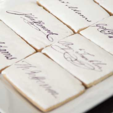 Black and White detail of cookies decorated with signatures of the signers of the Declaration of Independence from a Fourth of July party, Boston Event Planner, Boston Event Planning, Boston Event Stylist, Boston Event Styling