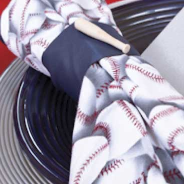 Blue detail of place setting sporting a baseball-printed napkin for fundraiser at Fenway Park, Boston Event Planner, Boston Event Planning, Boston Event Stylist, Boston Event Styling