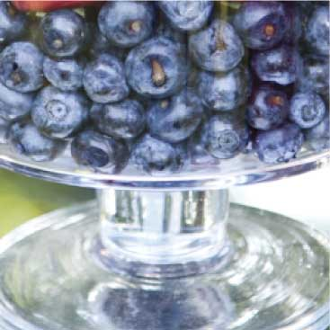 Blue detail of blueberries in a glass bowl for a Fourth of July party, Boston Event Planner, Boston Event Planning, Boston Event Stylist, Boston Event Styling