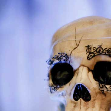 Blue detail of a skull at a scary Halloween dinner party, Boston Event Planner, Boston Event Planning, Boston Event Stylist, Boston Event Styling