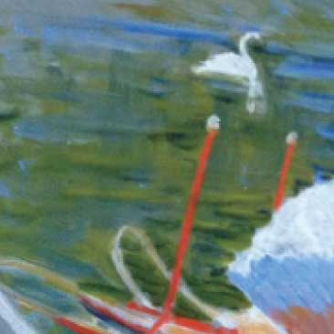 Green detail of a painted sign depicting the Swan Boats in Boston Garden from a proposal for a fundraiser at the Isabella Stewart Gardner Museum; Boston Event Planner, Boston Event Planning, Boston Event Stylist, Boston Event Styling