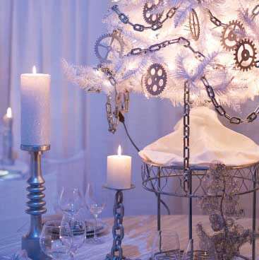 Purple detail of pillar candles and silver and white tree from a corporate holiday party; Boston Event Planner, Boston Event Planning, Boston Event Stylist, Boston Event Styling