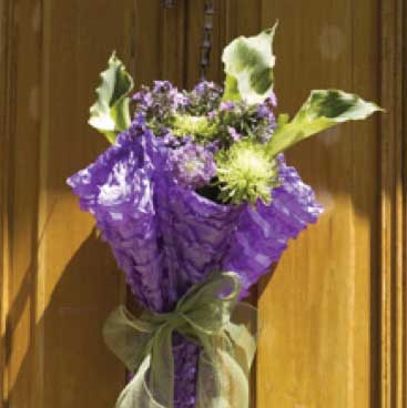 Purple detail of a front door floral arraignment from a wine tasting bridal shower; Boston Event Planner, Boston Event Planning, Boston Event Stylist, Boston Event Styling