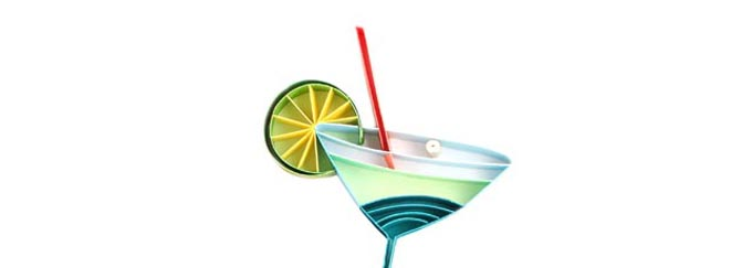 Big Bash Events icon of a cocktail, quilled 3-dimensional ar