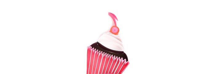 Big Bash Events icon of a cupcake, quilled 3-dimensional ar