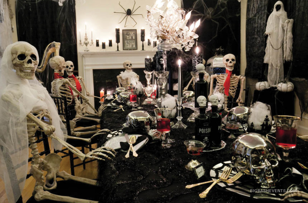 Scary Halloween Dinner Party, all the skeleton guests around the table, Boston Event Planner, Boston Event Planning, Boston Event Stylist, Boston Event Styling
